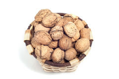 Basket of nuts, autumn fruits,  on white Royalty Free Stock Photography