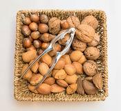 Basket with nuts and nutcracker. A basket with walnuts, Almonds, Brazil nuts, hazel nuts and a nut cracker Royalty Free Stock Photos