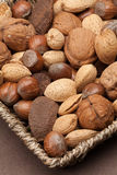 Basket with nuts in shells. Stock Photography