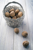 Basket with nuts Stock Photography