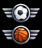 Basket- och fotbollboll royaltyfri illustrationer