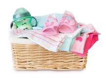 Free Basket Of Baby Clothing Isolated. Royalty Free Stock Images - 91011399