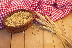 Basket Of Corn And Wheat Ear Stock Image