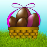 Basket Of Easter Chocolate Eggs Royalty Free Stock Photo