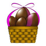 Basket Of Easter Chocolate Eggs Royalty Free Stock Images