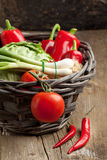 Basket Of Fresh Vegetables Royalty Free Stock Photography