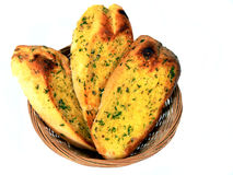 Basket Of Garlic Bread Stock Photos