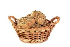 Basket Of Multi Grain Bread Rolls Stock Photography