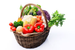 Basket Of Organic Fresh Produce From Farmers Market Royalty Free Stock Image