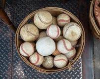 A basket of old weathered baseballs sitting outside on the street. Basket of old weathered baseballs sitting outside on the street royalty free stock photo