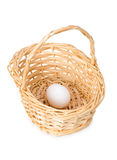 Basket with one egg isolated Royalty Free Stock Photos