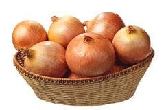 Basket with onion Royalty Free Stock Photography