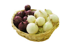 Basket with onion Royalty Free Stock Images