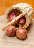 Basket of onions. Royalty Free Stock Photography