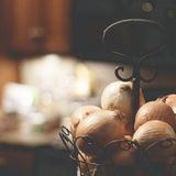 Basket of Onions Stock Images