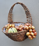 Basket with onions and pumpkin Stock Photo