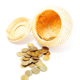 Basket with open lid and coins Stock Image