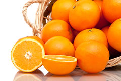 Basket of oranges Royalty Free Stock Photos