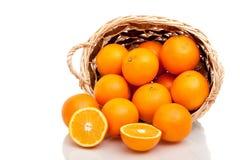 Basket of oranges Stock Photos