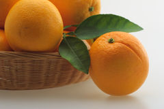 Basket with oranges. Basket fresh ripe organic juicy sweet oranges Royalty Free Stock Photography
