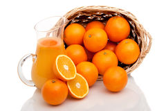 Basket of oranges and juice Royalty Free Stock Photos