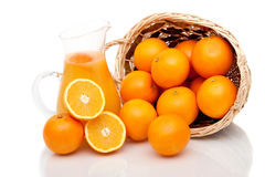 Basket of oranges and juice Royalty Free Stock Images
