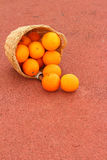 Basket of oranges on red background.  Royalty Free Stock Photos