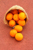 Basket of oranges on red background.  Royalty Free Stock Image
