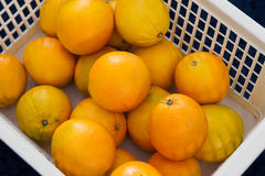 Basket with oranges. White basket with some orange fruits on blue background Royalty Free Stock Photo