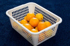Basket with oranges. White basket with some orange fruits on blue background Stock Image