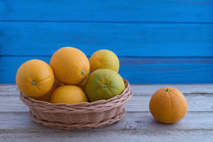 Basket with Oranges Stock Photos