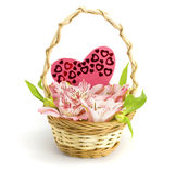 Basket with orchids Stock Images