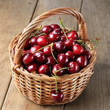 Basket of organic Cherries Royalty Free Stock Photo