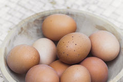 Basket with organic eggs Royalty Free Stock Images