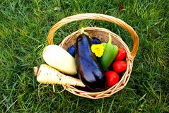Basket with organic vegetables and fruits Royalty Free Stock Images