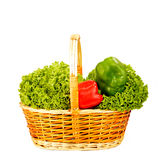 Basket organic vegetables isolated Stock Image