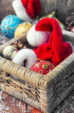 Basket with ornaments on the Christmas tree Stock Image