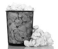 Basket overflowing with office paper isolated Stock Photography