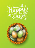 Basket with painted easter eggs on green background, illustration Royalty Free Stock Image