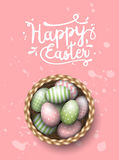 Basket with painted easter eggs on pink spotted background, illustration Stock Image