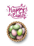 Basket with painted easter eggs on white background, illustration Stock Image