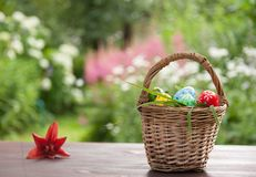 Basket with painted eggs Stock Photography