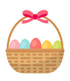 Basket with painted eggs. Easter basket icon, flat style.  on white background. Vector illustration, clip-art. Basket with painted eggs. Easter basket icon Stock Image