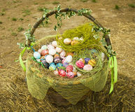 Basket with painted eggs for Easter holiday Stock Image