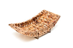 Basket from palm leaves. Isolated on a white background Stock Photography