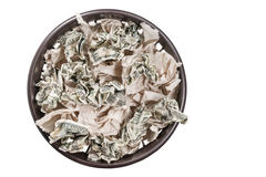 Basket with paper and money Stock Images