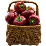 Basket with paprika. Basket with red paprika isolated on a white background Royalty Free Stock Photos