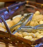 Basket and peanuts Stock Photography