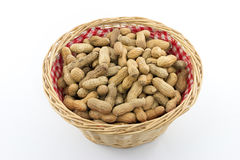 Basket with Peanuts Stock Photos