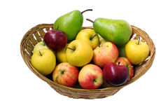 Basket of pears and apples Royalty Free Stock Photo